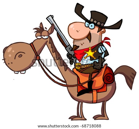 Western Sheriff On A Horse - stock photo