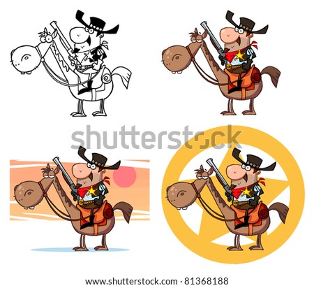Western Sheriff On A Horse.Raster Collection.Vector version is also available - stock photo