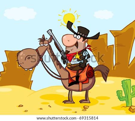 Western Sheriff On Horseback In Front Western Landscape - stock photo