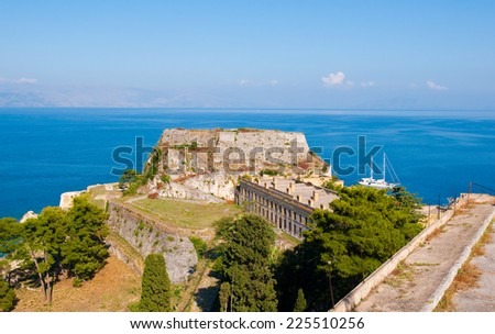 Western side of the Old Fortress. Corfu island, Greece. - stock photo