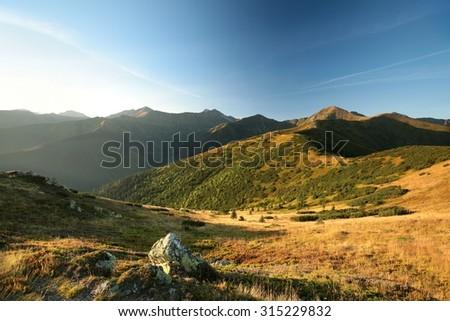 Western Tatra Mountains at dawn. - stock photo