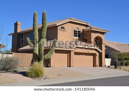 Western Two-Story House in Arizona  - stock photo
