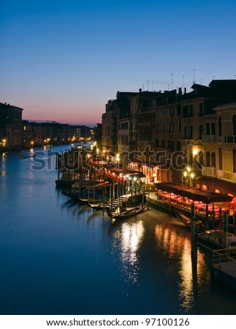 Western view of the Grand Canal at dusk - Venice, Venezia, Italy, Europe - stock photo