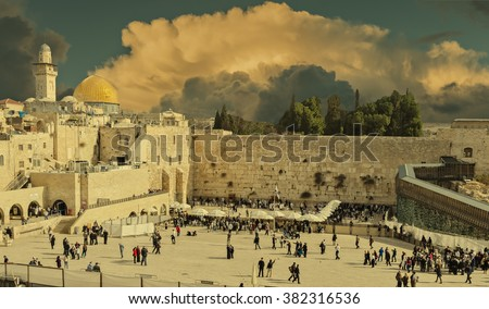 Western Wall in Jerusalem is a major Jewish sacred place, Israel  - stock photo