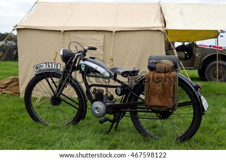 WESTERNHANGER, UK - JULY 20: A vintage DKW motorcycle stands on display for the public to view at the War & Peace Revival show on July 20, 2016 in Westernhanger