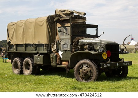 WESTERNHANGER, UK - JULY 20: An ex US army military troop carrier truck stands on static display for the public to view at the War & Peace Revival show on July 20, 2016 in Westernhanger