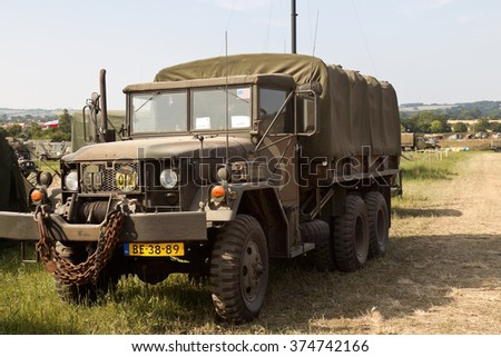 WESTERNHANGER, UK - JULY 17: An ex US army Whistler GS truck waits by the side of the road before entering the main arena at the War & Peace show on July 17, 2013 in Westernhanger