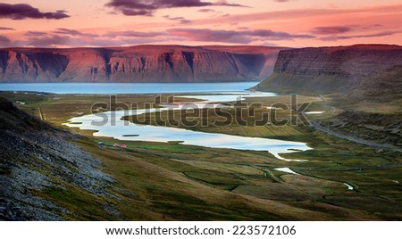 Westfjords in Iceland at sunset - stock photo