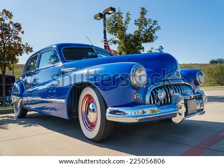 WESTLAKE, TEXAS - OCTOBER 18, 2014: A blue 1947 Buick Super is on display at the 4th Annual Westlake Classic Car Show.  - stock photo