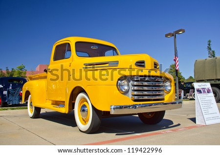 WESTLAKE, TEXAS - OCTOBER 27: A 1949 Ford F1 pickup truck is on display at the 2nd Annual Westlake Classic Car Show on October 27, 2012 in Westlake, Texas. - stock photo
