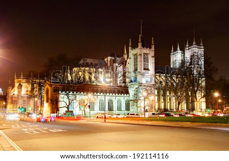 Westminster Abbey at night, London - stock photo