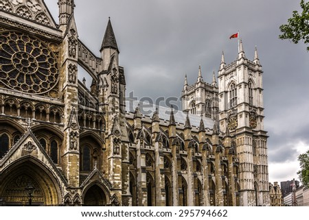 Westminster Abbey (Collegiate Church of St Peter at Westminster) - Gothic church in City of Westminster, London. Westminster is traditional place of coronation for English monarchs.  - stock photo
