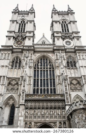 Westminster Abbey, formally titled the Collegiate Church of St Peter at Westminster, is a large, mainly Gothic church in the City of Westminster, London. - stock photo