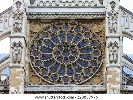 Westminster Abbey, Northern side - detail - stock photo