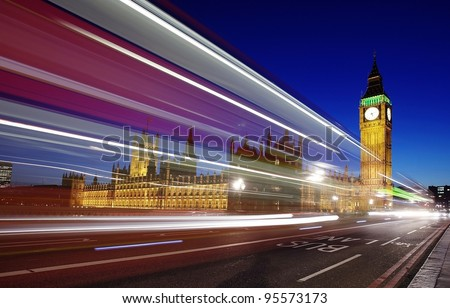 Westminster and Big Ben at night London England - stock photo