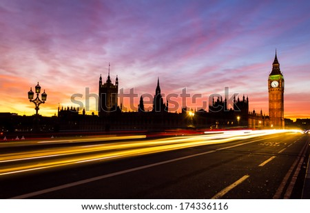 Westminster and colorful sunset - stock photo