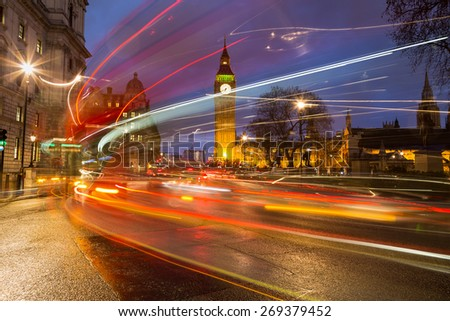 Westminster and traffic during rush hour at night - stock photo