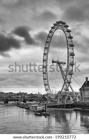 WESTMINSTER - APRIL 2014: London Eye, Westminster, London, 28 April, 2014. Westminster' s concentration of visitor attractions  and historic landmarks is the highest in London - stock photo