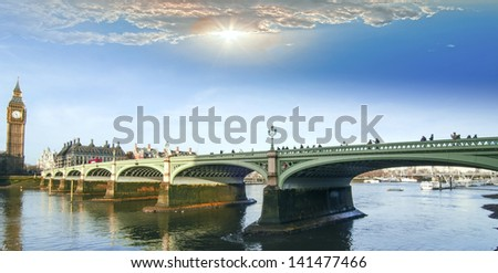 Westminster Bridge and the Big Ben. - stock photo