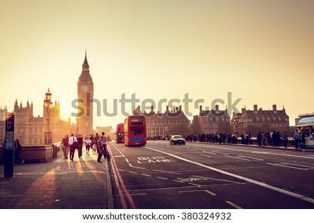 Westminster Bridge at sunset, London, UK - stock photo