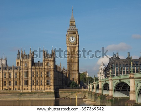 Westminster Bridge over River Thames with Houses of Parliament and Big Ben in London, UK
