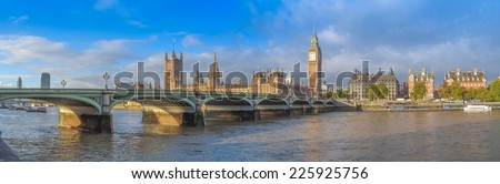 Westminster Bridge panorama with the Houses of Parliament and Big Ben in London UK - stock photo