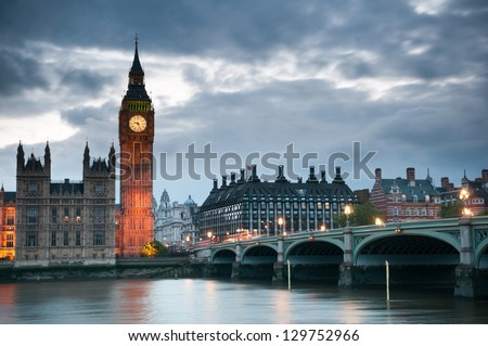 Westminster Bridge with Big Ben , London - stock photo