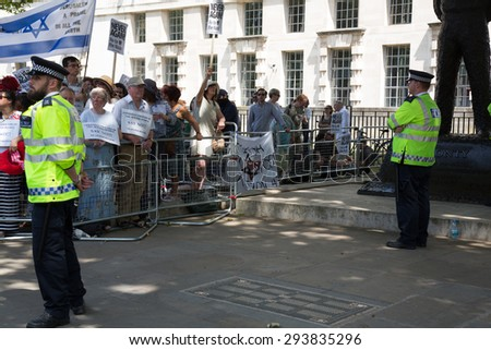 Westminster, London, UK, 4th July, 2015. Counter protest against the 'Jewification' of London