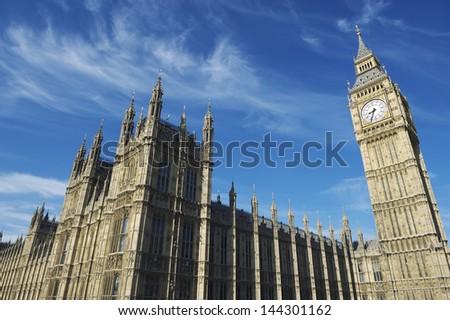 Westminster Palace and Big Ben London Blue Sky Horizontal - stock photo
