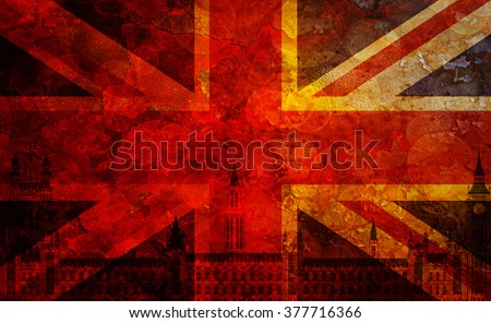 Westminster Palace Big Ben Union Jack Great Britain Flag with Grunge Texture Background Illustration - stock photo