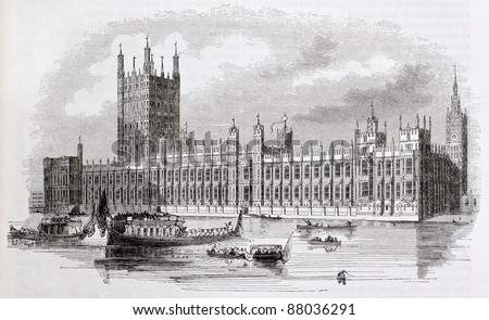 Westminster palace old view, London, By unidentified author, published on Magasin Pittoresque, Paris, 1844 - stock photo