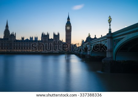 Westminster, the British parliament, and Westminster bridge captured from the South Bank - stock photo