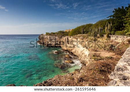 Westpunt views Curacao a tropical island in the Caribbean - Netherland Antilles - stock photo