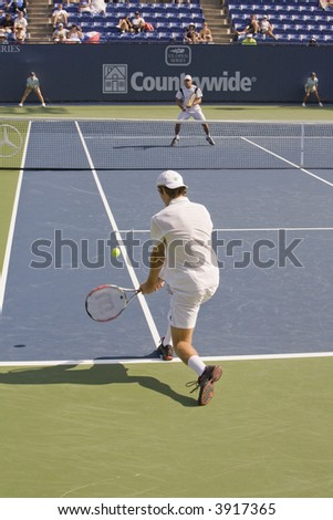 WESTWOOD, CA - JULY 16: Doubles Match between David Nalbandian and Fernando Gonzalez against Teimuraz Gabashvili (foreground) and Vincent Spadea at the Countrywide Classic on 7/16/07