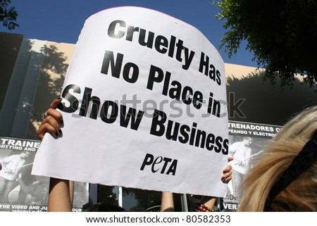 WESTWOOD CA - JULY 6: Peta protestors at the premiere of the movie Zookeeper July 6, 2011 at the Regency's Village Theatre in Westwood, CA. - stock photo