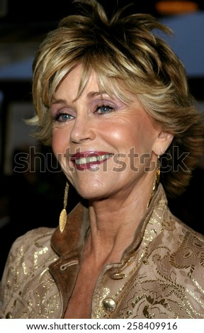 "WESTWOOD. CALIFORNIA. April 29, 2005. Jane Fonda attends at the Los Angeles Premiere of ""Monster-In-Law"" at the Mann National Theatre in Westwood, Los Angeles, California.   - stock photo"