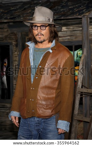"WESTWOOD, CALIFORNIA - February 14, 2011. Johnny Depp at the Los Angeles premiere of ""Rango"" held at the Regency Village Theatre, Los Angeles."