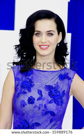 WESTWOOD, CALIFORNIA - July 28, 2013. Katy Perry at the Los Angeles premiere of 'Smurfs' held at the Regency Village Theater in Westwood, Los Angeles.   - stock photo