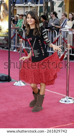 WESTWOOD, CALIFORNIA. October 9, 2005. Victoria Justice at the DreamWorks Pictures Premiere of 'Dreamer' at the Mann Village Theatre in Westwood, California United States.  - stock photo