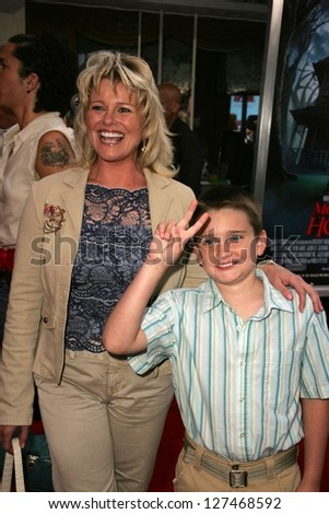 "WESTWOOD - JULY 17: Judi Evans and son Austin at the premiere of ""Monster House"" at Mann Village Theater July 17, 2006 in Westwood, CA."