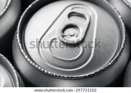 Wet aluminium can - stock photo