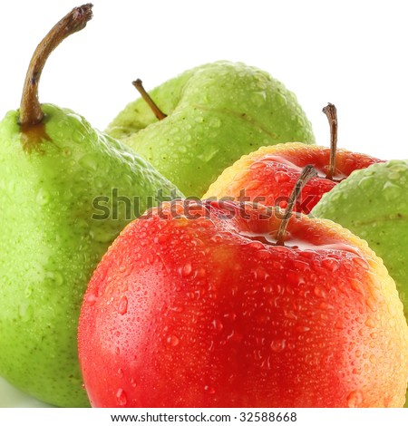Wet apples and pear - stock photo