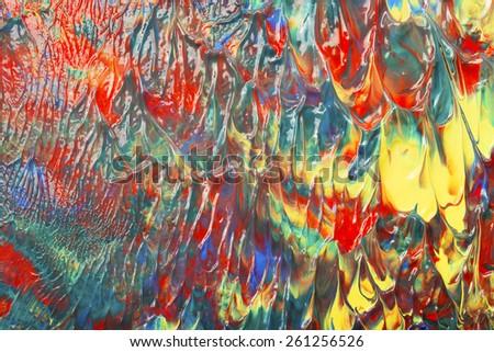 Wet artist's acrylic paints. - stock photo