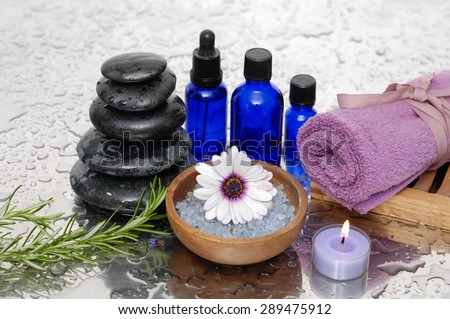 Wet background and health spa setting - stock photo