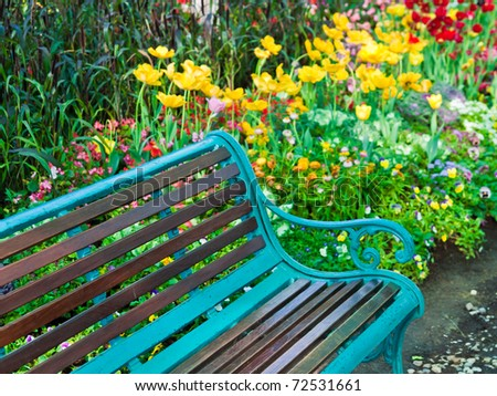 Wet bench in the park - stock photo