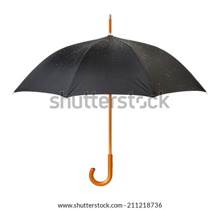 Wet Black Umbrella isolated on white with a clipping mask.  - stock photo