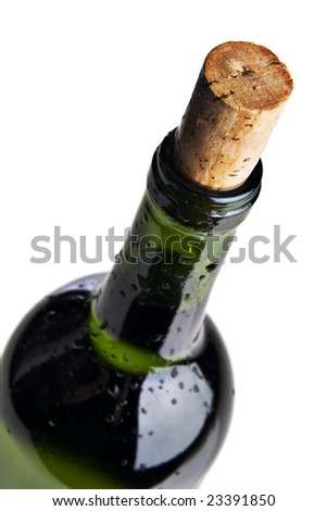 Wet bottle of red wine against a white background, Close up photograph of a wine bottle cork - stock photo