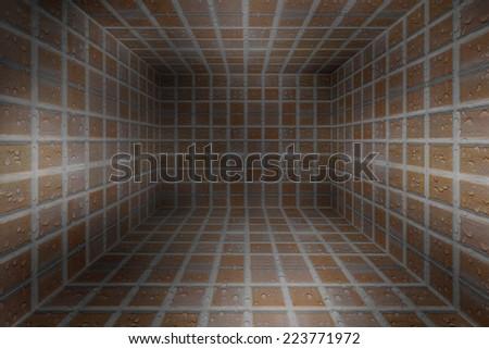 Wet Brick Bathroom - stock photo