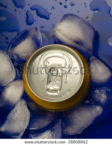 Wet can of beer in ice