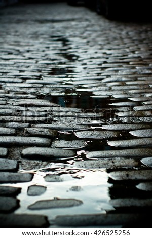 Wet Cobblestone Street With Reflection - stock photo